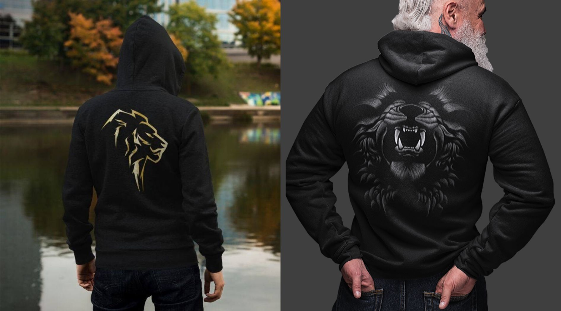 Mens wearing lion hoodies.