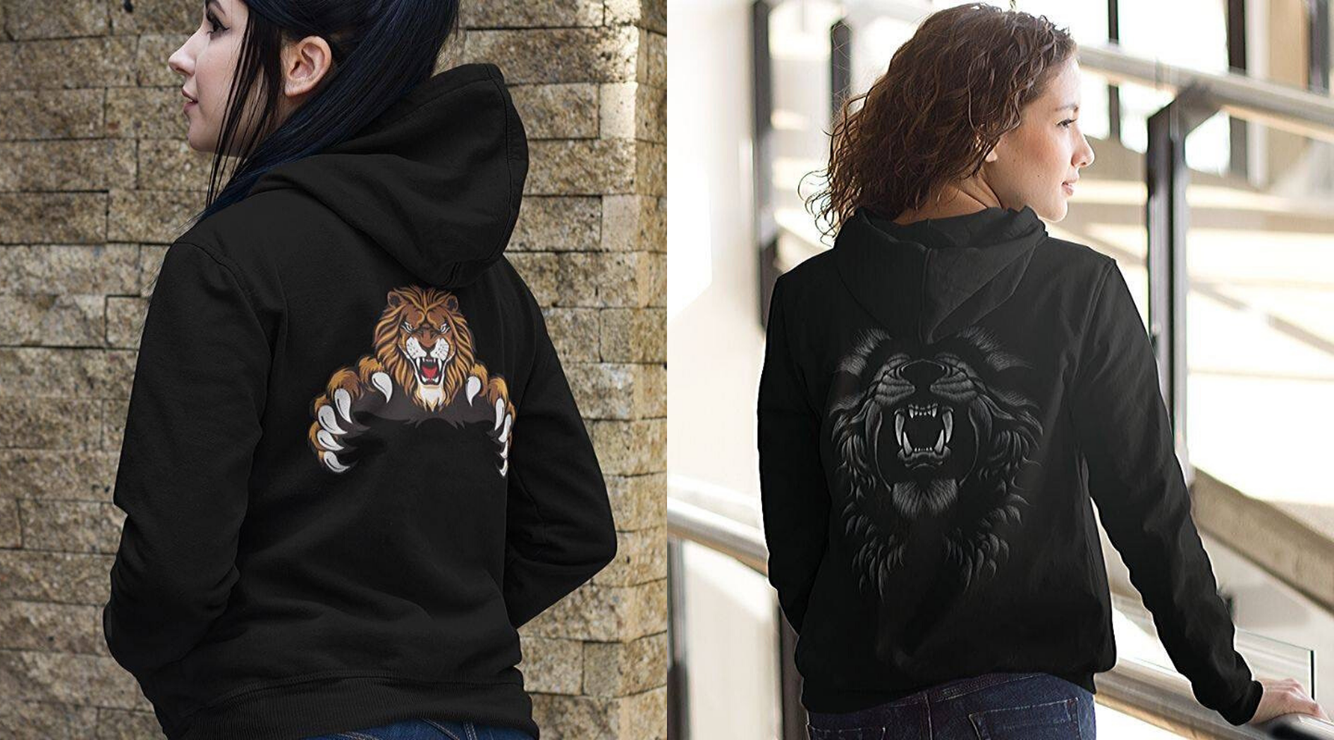 Women wearing lion hoodies.