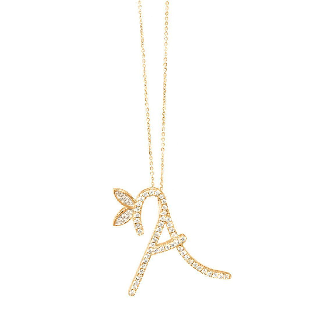 1 Inch Winged CZ Initial - Sterling Silver 18ct Gold Plated - SayItWithDiamonds.com