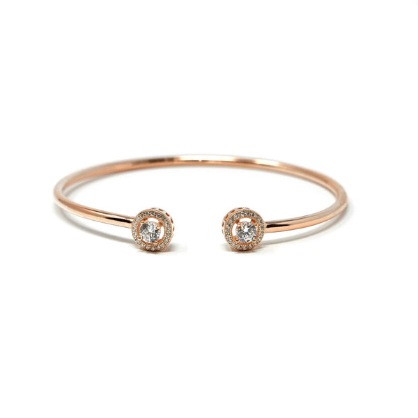 18ct Rose Gold Plated Round Halo Bangle - SayItWithDiamonds.com
