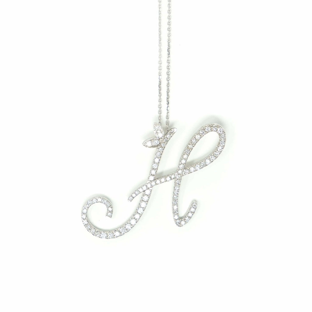 18ct Rose Gold Script Full Diamond Initial Necklace - SayItWithDiamonds.com