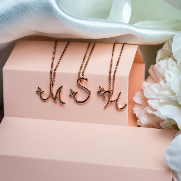 18ct Rose Gold Winged Initial Necklace - SayItWithDiamonds.com