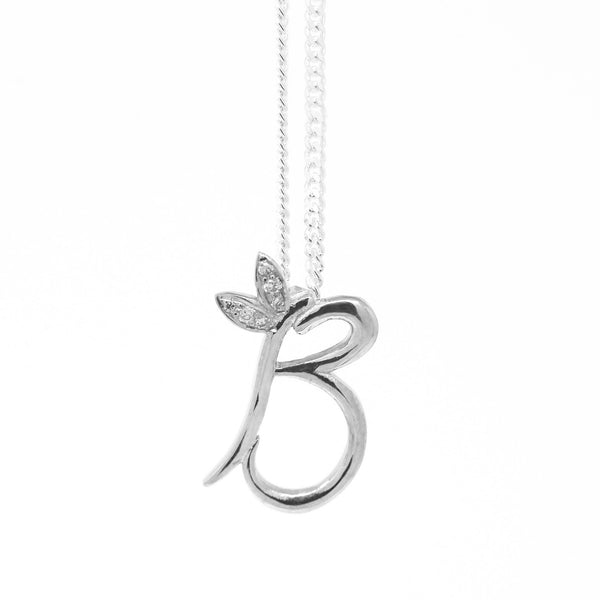 18ct White Gold Winged Initial Necklace - SayItWithDiamonds.com