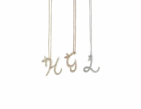 18ct White / Yellow / Rose Gold 1 inch Diamond Initial Necklace - SayItWithDiamonds.com