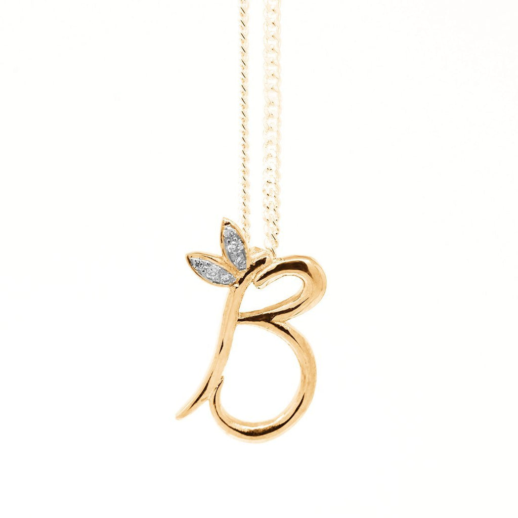 18ct Yellow Gold Winged Initial Necklace - SayItWithDiamonds.com