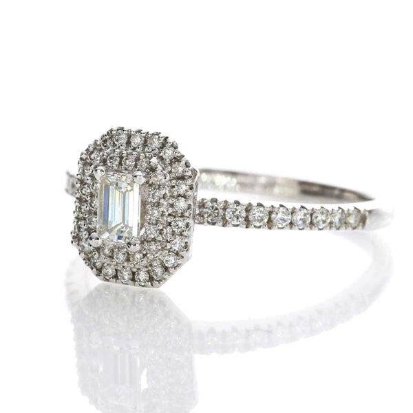 .30ct Emerald Cut Double Halo Diamond Band - 18ct White Gold - SayItWithDiamonds.com