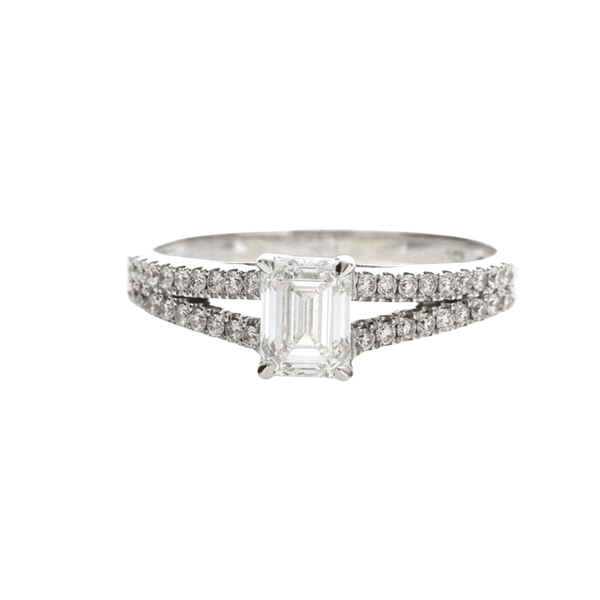 .50ct Emerald Cut Plain Band - 18ct White Gold - SayItWithDiamonds.com