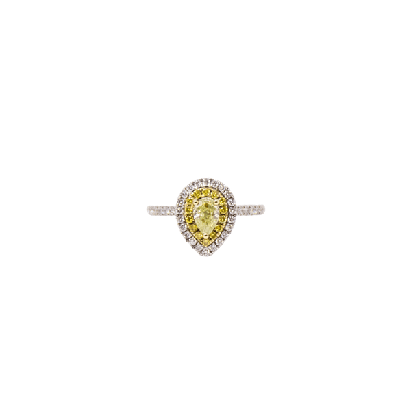 .50ct Pear Shaped Yellow Diamond Double Halo Ring - SayItWithDiamonds.com