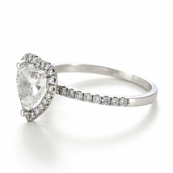 .70ct Heart Shape Single Halo Diamond Band - 18ct White Gold - SayItWithDiamonds.com