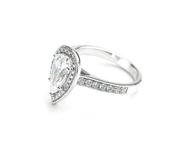 .70ct Pear Single Halo With Channel Set Diamond Band - 18ct White Gold - SayItWithDiamonds.com