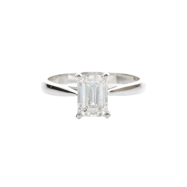 .90ct Emerald Cut Plain Band - 18ct White Gold - SayItWithDiamonds.com