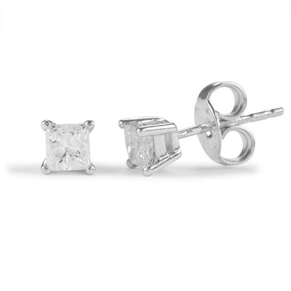 9ct Certified Diamond Earrings - Princess Cut Claw Set - SayItWithDiamonds.com