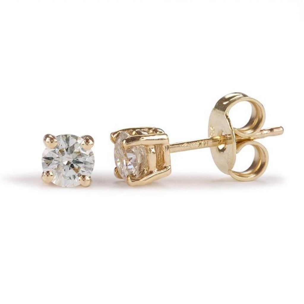 9ct Certified Diamond Earrings - Round Claw Set - SayItWithDiamonds.com