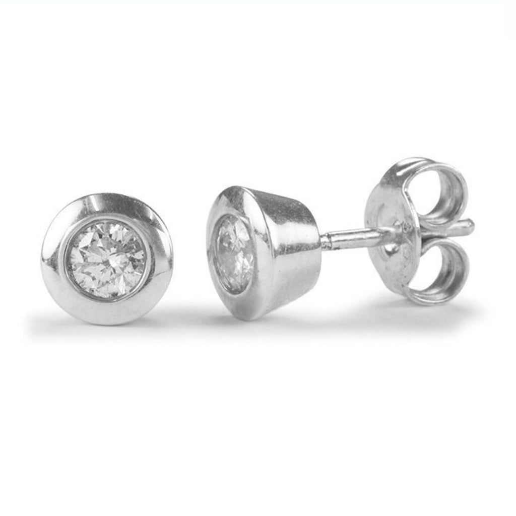 9ct Certified Diamond Earrings with Bezel - SayItWithDiamonds.com