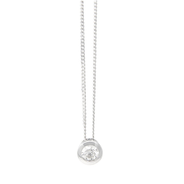 9ct Gold Diamond Pendant Necklace Bezel set - SayItWithDiamonds.com