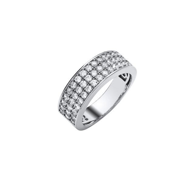 9ct White Gold 3 Row Diamond Band - SayItWithDiamonds.com