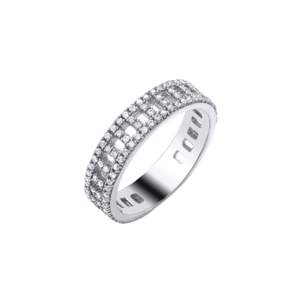 9ct White Gold Full Diamond Band - SayItWithDiamonds.com