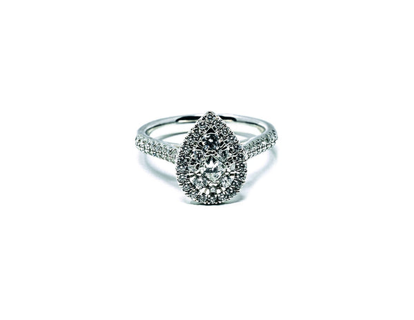 9ct White Gold Pear Halo - SayItWithDiamonds.com