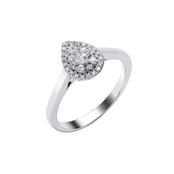 9ct White Gold Pear Plain Band 0.25ct - SayItWithDiamonds.com