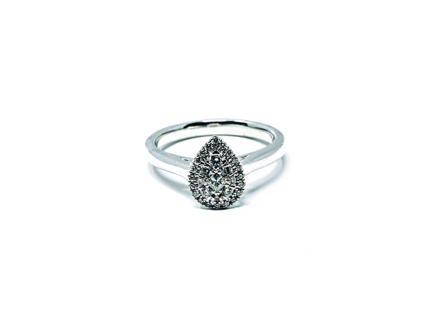 9ct White Gold Pear Plain Band - SayItWithDiamonds.com