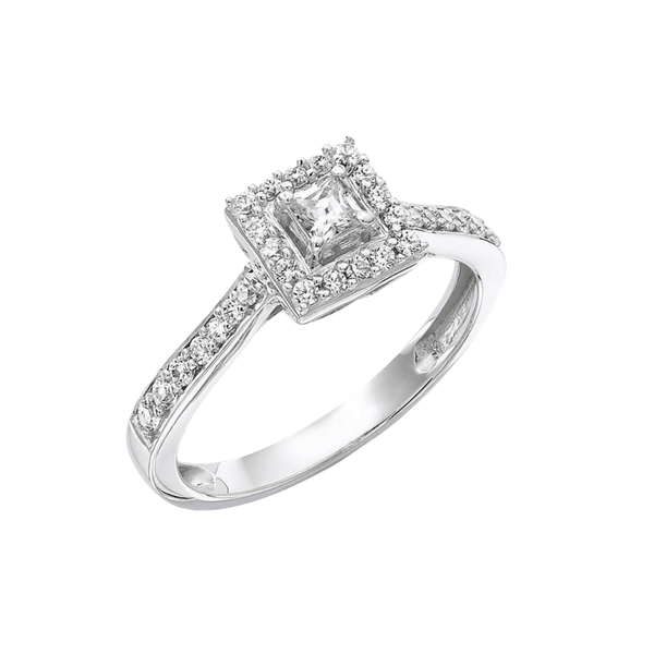 9ct White Gold Princess Cut with Halo - SayItWithDiamonds.com