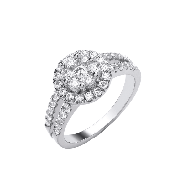 9ct White Gold Round Double Band .50ct - SayItWithDiamonds.com