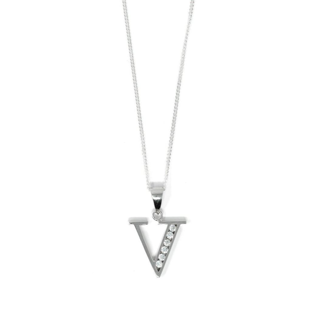 Block Initial - Sterling Silver with CZ Stones - SayItWithDiamonds.com