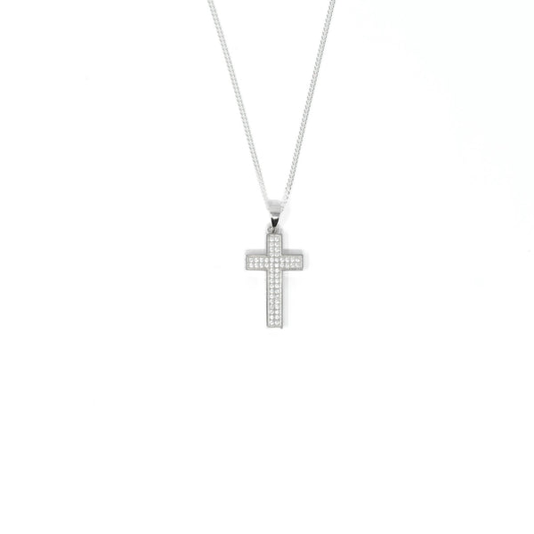 Cross Necklace with CZ Stones - Sterling Silver - SayItWithDiamonds.com