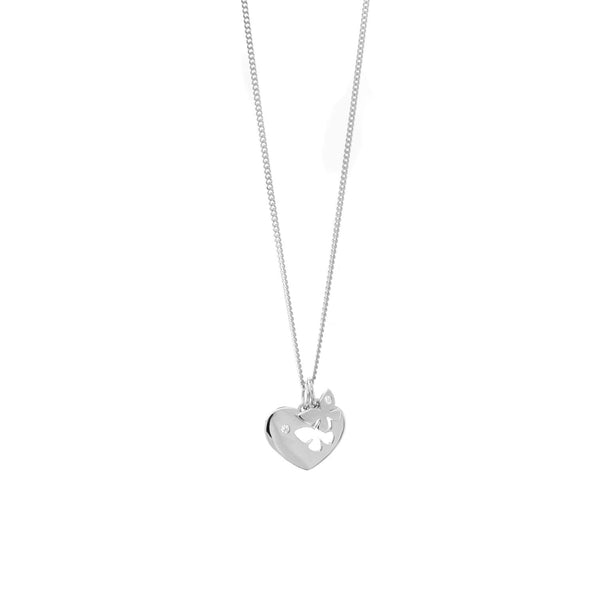 Cut Out Butterfly Heart Necklace - Sterling Silver - SayItWithDiamonds.com