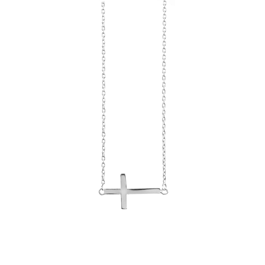 Dainty Side Cross - Sterling Silver - SayItWithDiamonds.com