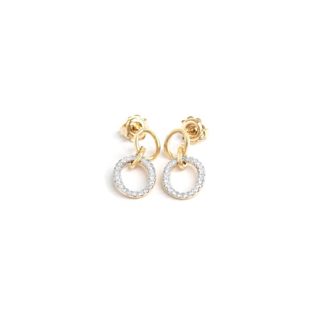 Double Drop Diamond And Gold Earrings - 0.40ct - SayItWithDiamonds.com