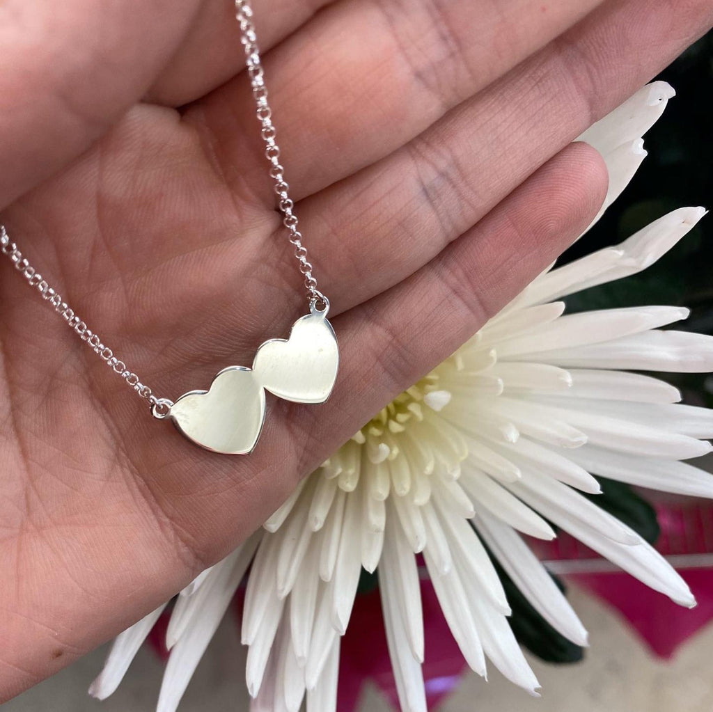 Double Heart Necklace - Sterling Silver - SayItWithDiamonds.com