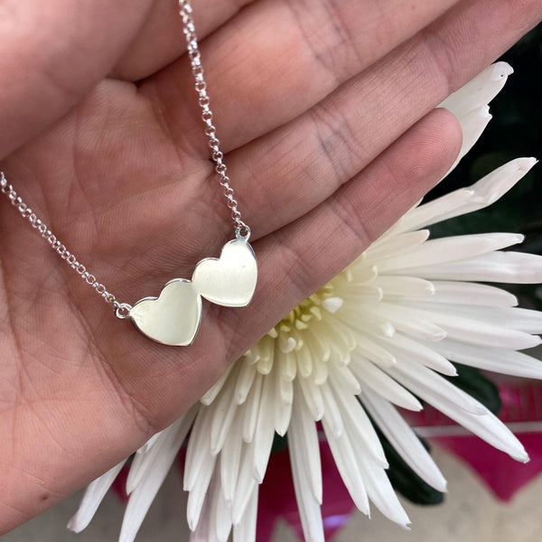 Large Double Heart Necklace - Sterling Silver - SayItWithDiamonds.com