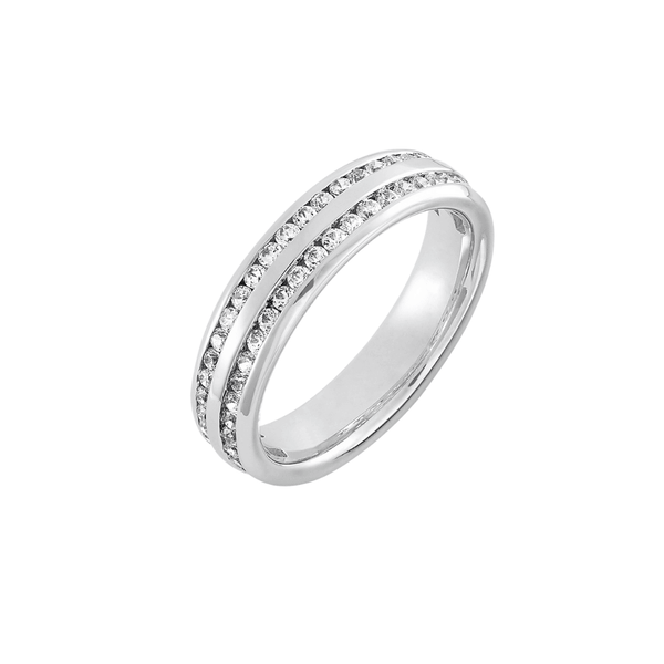 Double Row Channel Set Brilliant Cut Full Diamond Band - SayItWithDiamonds.com