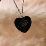 Engraved Heart Token Necklace - Sterling Silver - SayItWithDiamonds.com