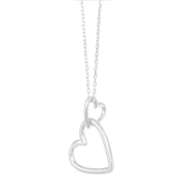 Forever In Love Double Heart Sterling Silver Necklace - SayItWithDiamonds.com