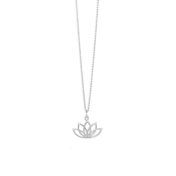 Hollow Lotus Sterling Silver Necklace - SayItWithDiamonds.com
