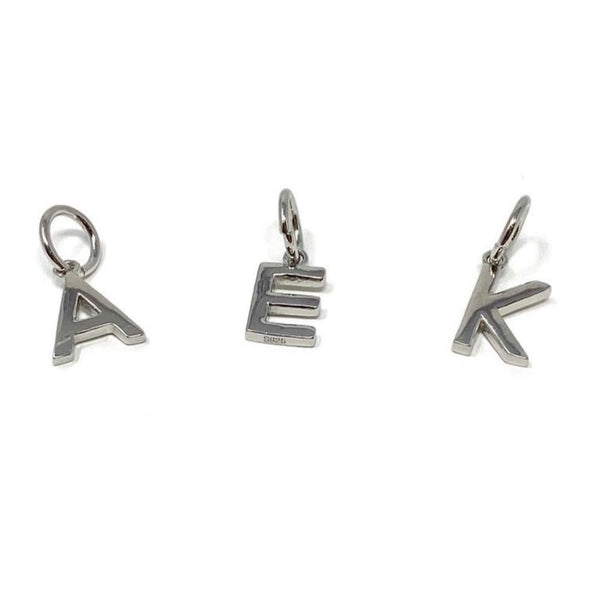 Large Sterling Silver Initial Charm - SayItWithDiamonds.com