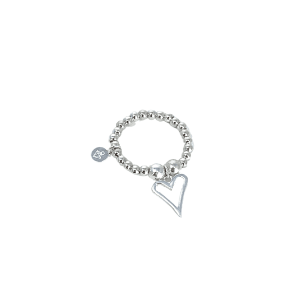 Limited Edition Open Heart Ball Ring - Sterling Silver - SayItWithDiamonds.com
