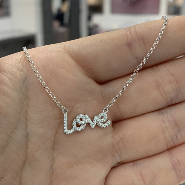 Love Chain Necklace - Sterling Silver with CZ Stones - SayItWithDiamonds.com