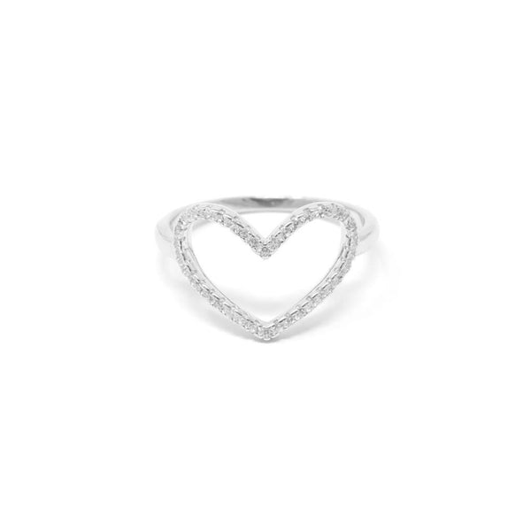 Love Struck Sterling Silver Heart Ring - SayItWithDiamonds.com