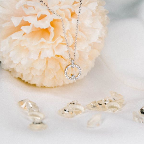 Mini Circle of Life Necklace - Sterling Silver with CZ Stones - SayItWithDiamonds.com