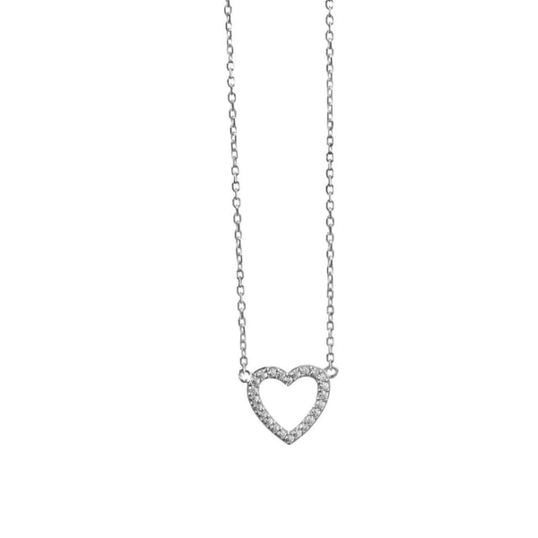 Open Heart Necklace With CZ Stones - Sterling Silver - SayItWithDiamonds.com