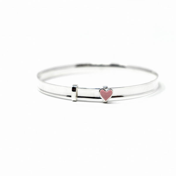 Rockabye Baby - Baby Bangle with Heart - Sterling Silver - SayItWithDiamonds.com