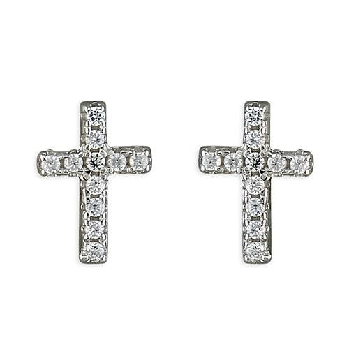 Rockabye Baby Cross Earrings with CZ Stones - Sterling Silver - SayItWithDiamonds.com