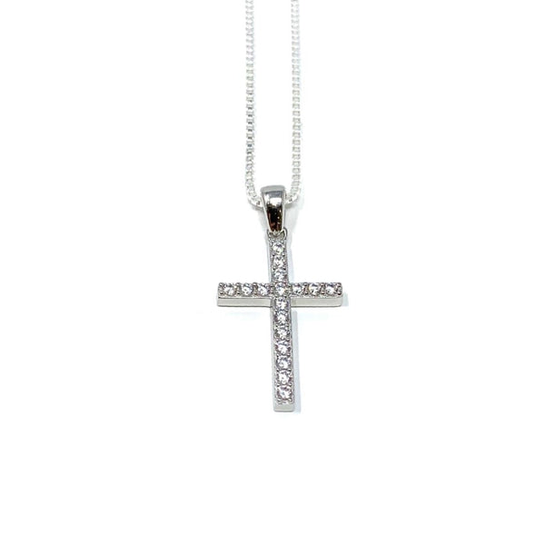 Rockabye Baby Cross Necklace - Sterling Silver with CZ Stones - SayItWithDiamonds.com