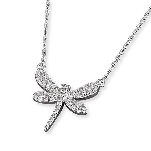 Rockabye Baby Dragonfly Necklace - Sterling Silver - SayItWithDiamonds.com