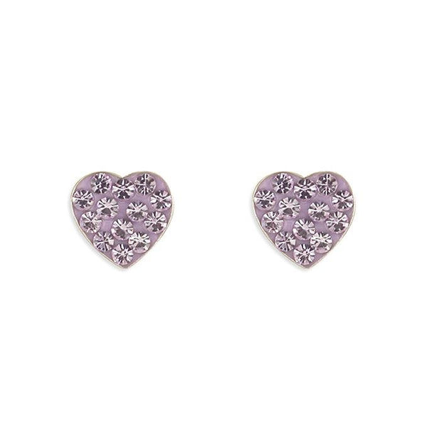 Rockabye Baby Heart Earrings with Lilac CZ Stones - SayItWithDiamonds.com