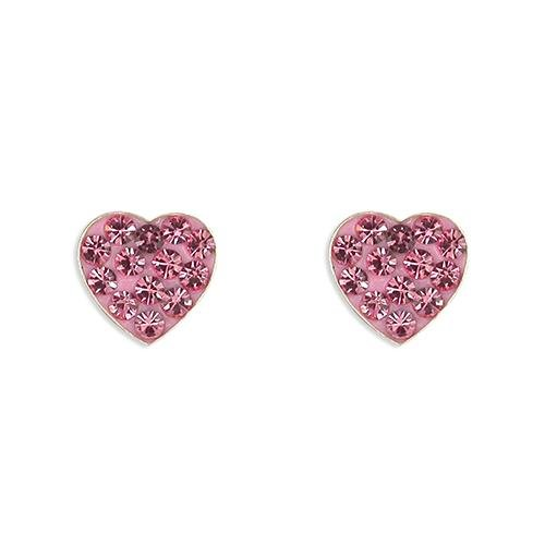 Rockabye Baby Heart Earrings with Pink CZ Stones - SayItWithDiamonds.com