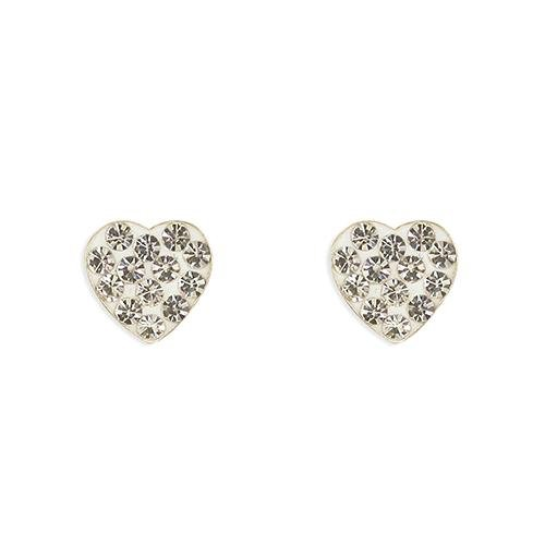 Rockabye Baby Heart Earrings with White CZ Stones - SayItWithDiamonds.com